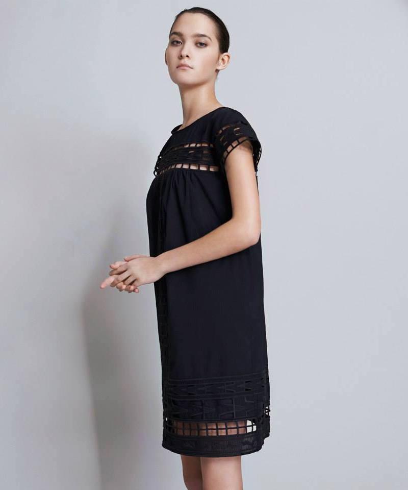 Sea Ny Embellished Dobby-Weave Dress