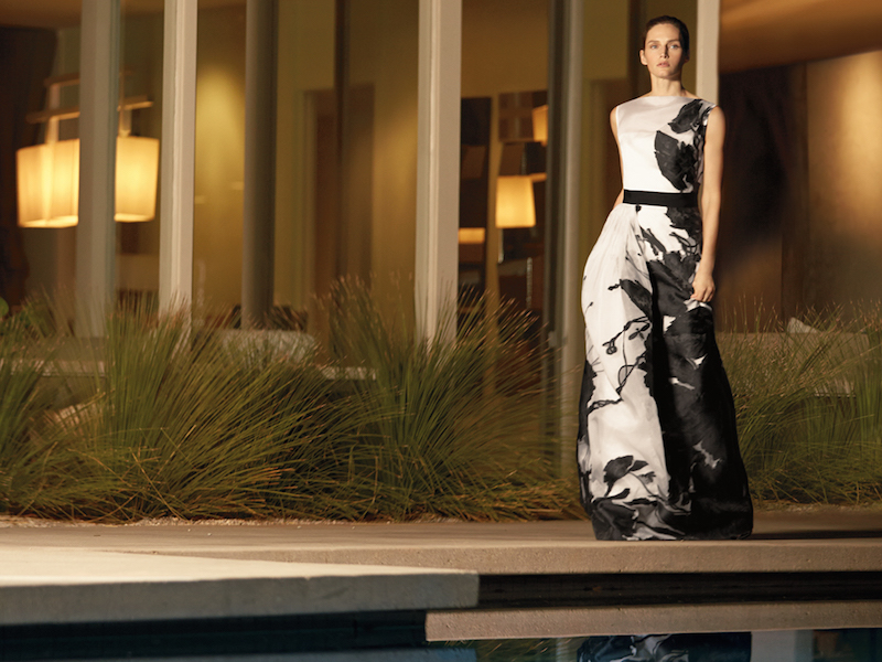 St. John Dramatic Floral Fil Coupe Gown