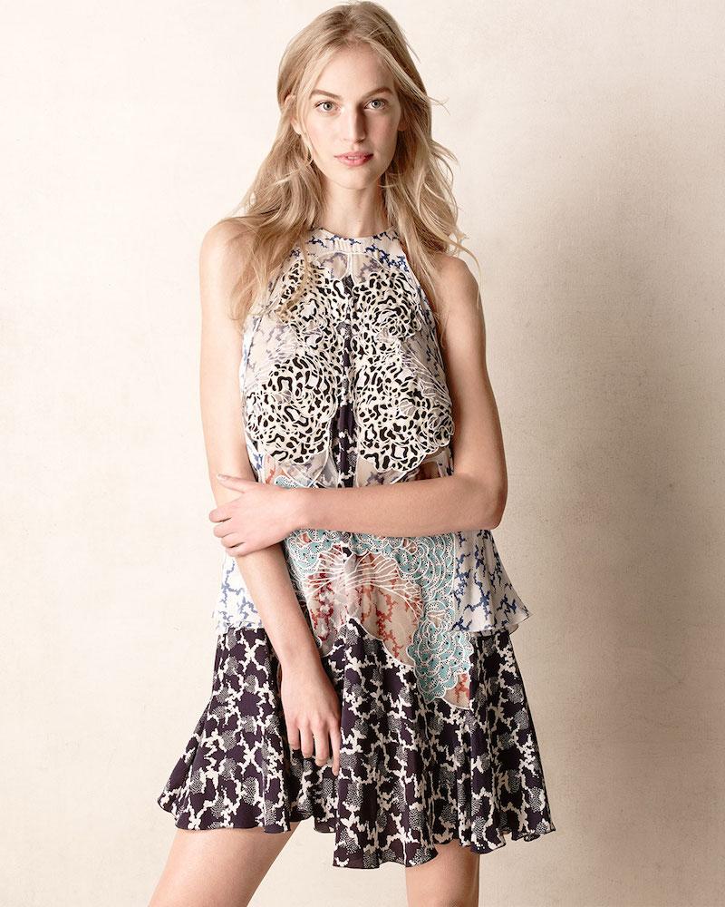 Stella McCartney Cloud-Embroidered Multilayered Halter Dress