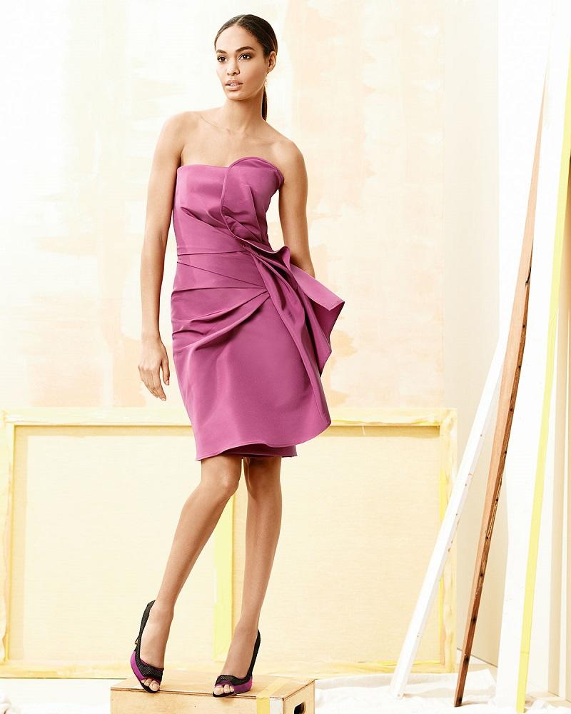 Tulip-Print Linen Sundress Fold-Pleated Strapless Cocktail Dress