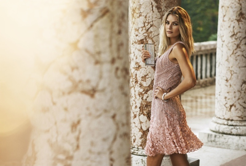 Tulle dress embroidered with small beads