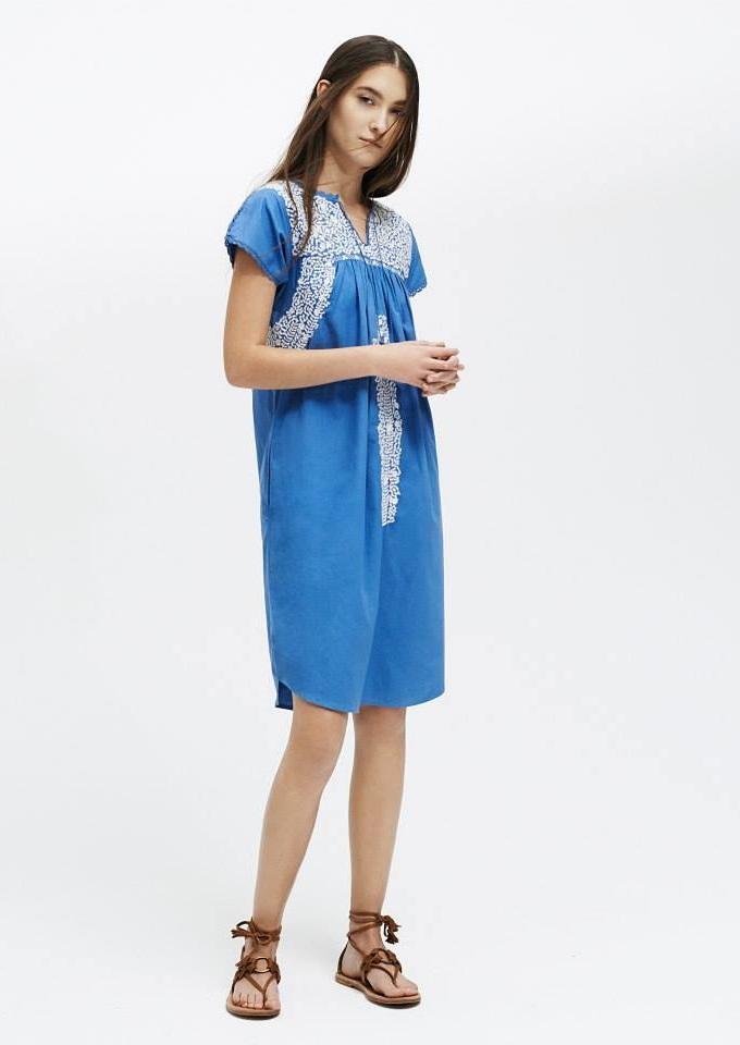 ULLA JOHNSON Embroidered Dahlia Babydoll Dress