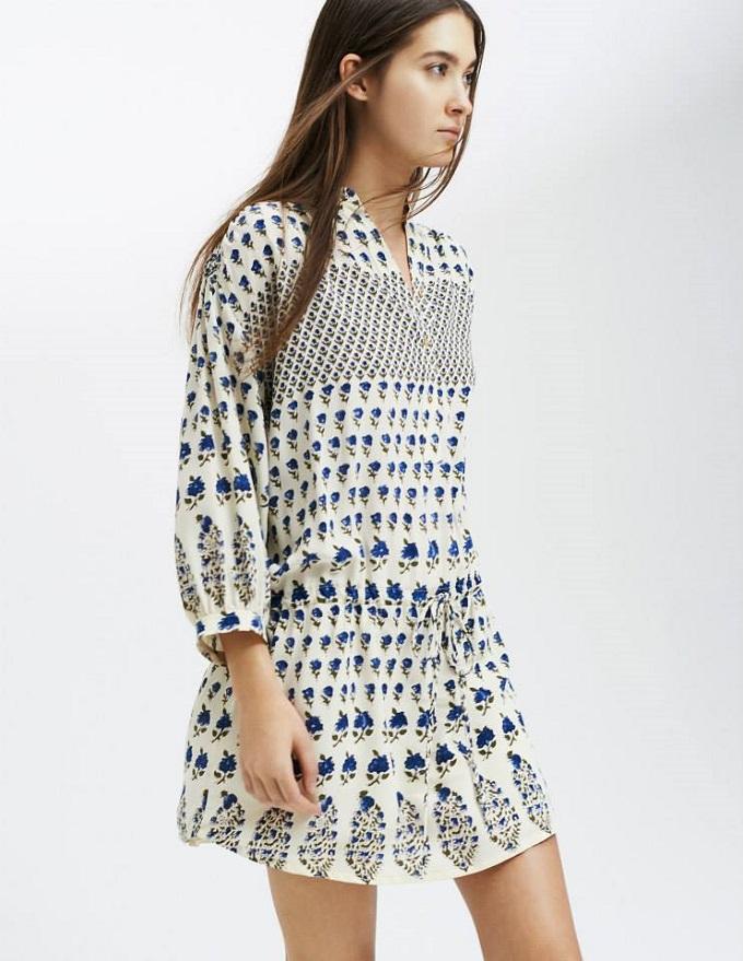 ULLA JOHNSON Floral Silk Bazaar Henley Shirtdress