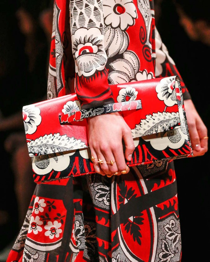 Valentino Floral-Print Covered Clutch Bag