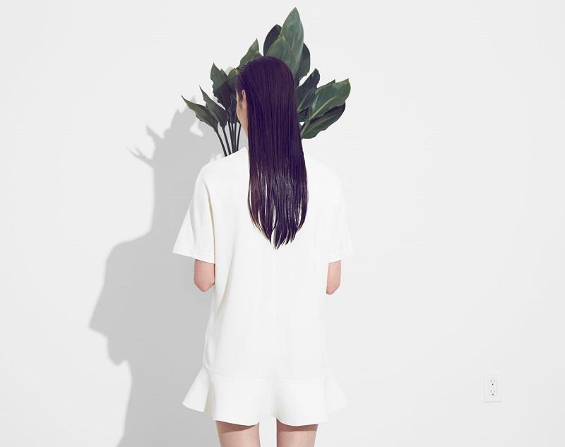 Valentino Ivory Flutter Hem Crepe Dress