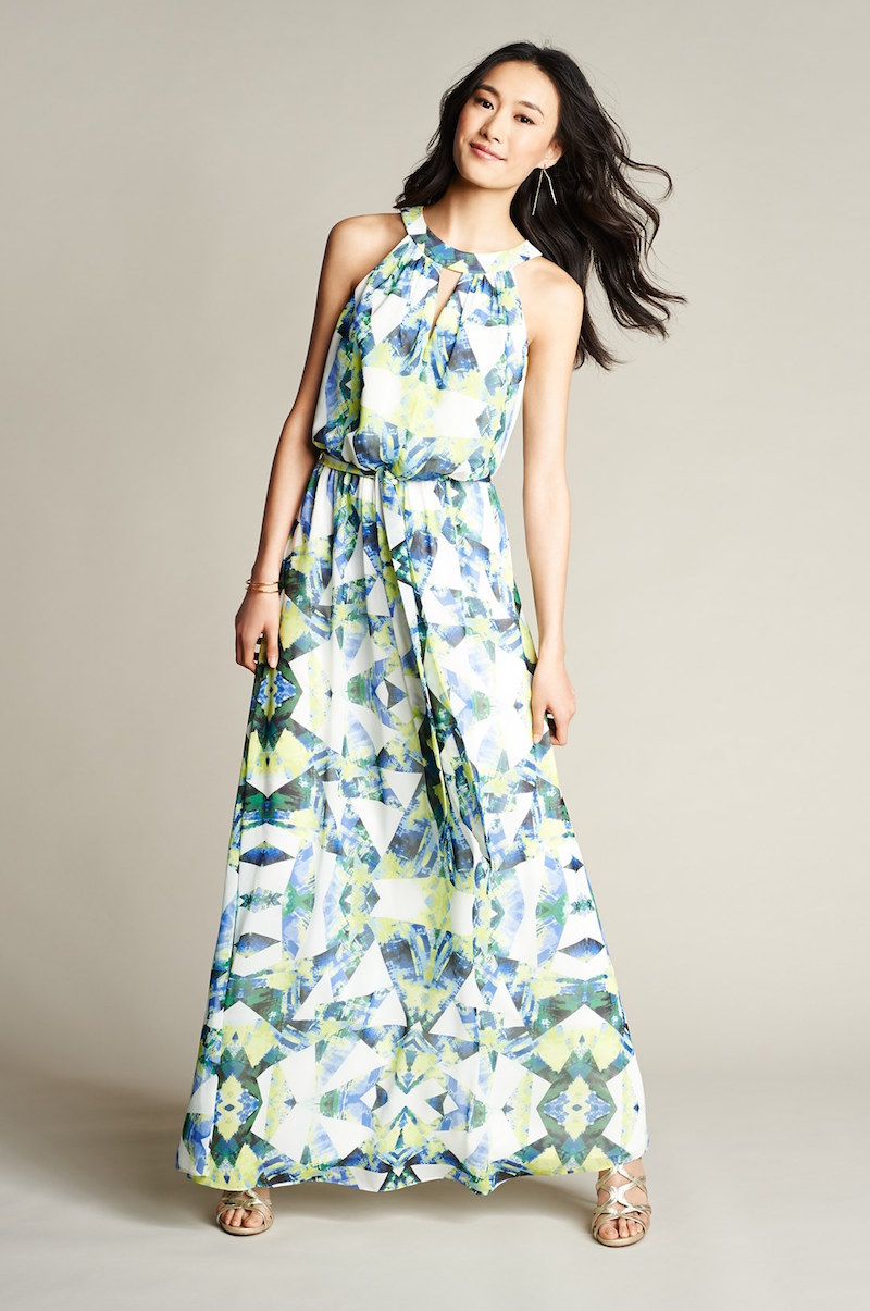 Vince Camuto Print Chiffon Maxi Dress