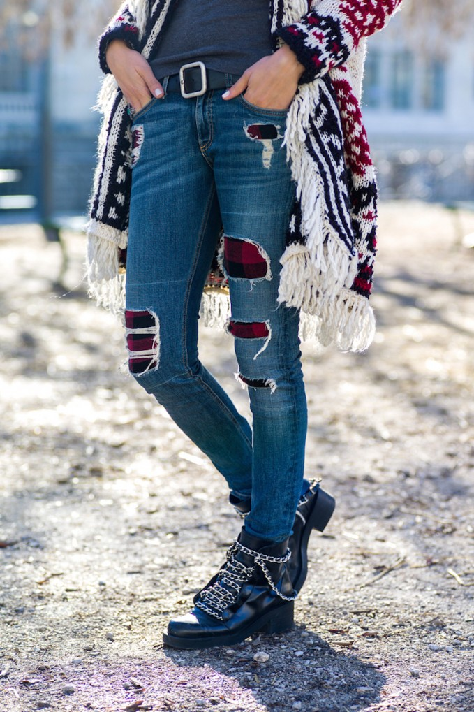 rag & bone/JEAN The Skinny Sloane Plaid Repair Jeans