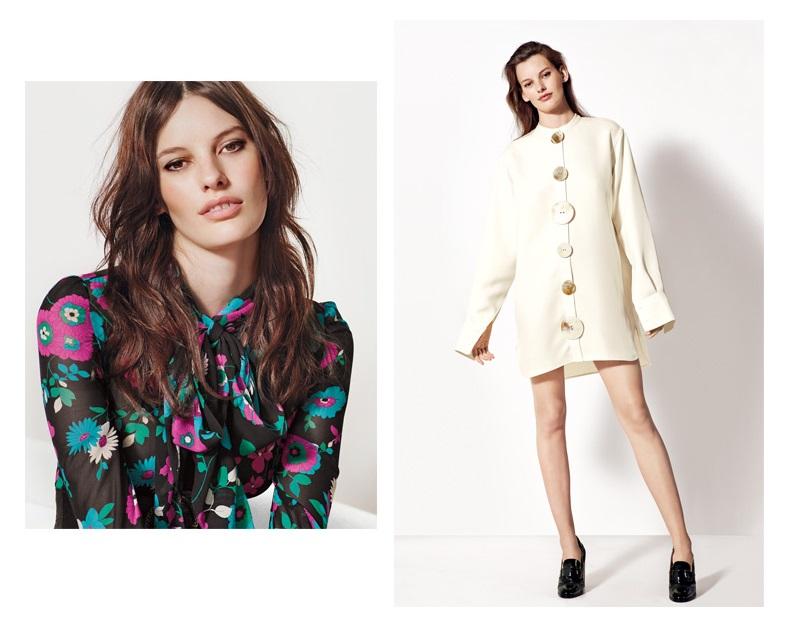 Saint Laurent Flower Print Silk Georgette Dress