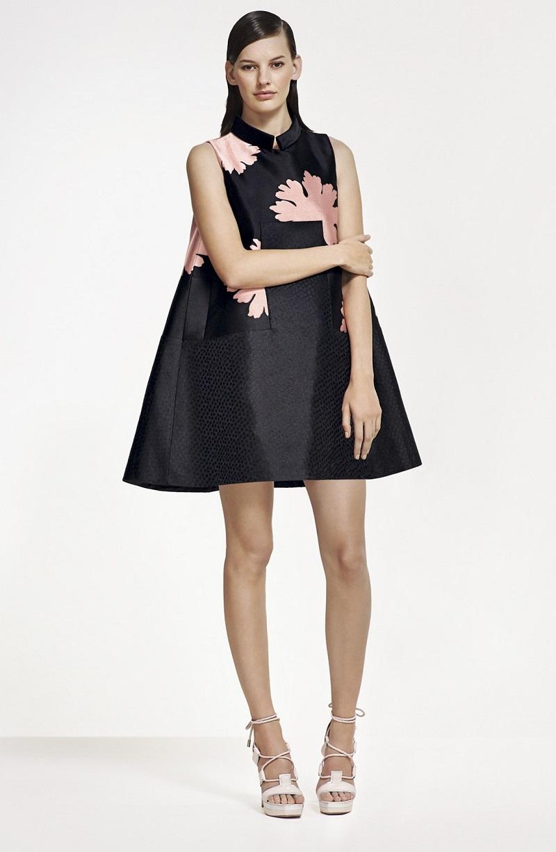 Alexander McQueen Peony Print A-Line Silk Dress