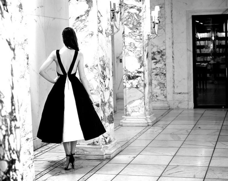 Alice + Olivia Brennan Deep-V Colorblock Dress 1