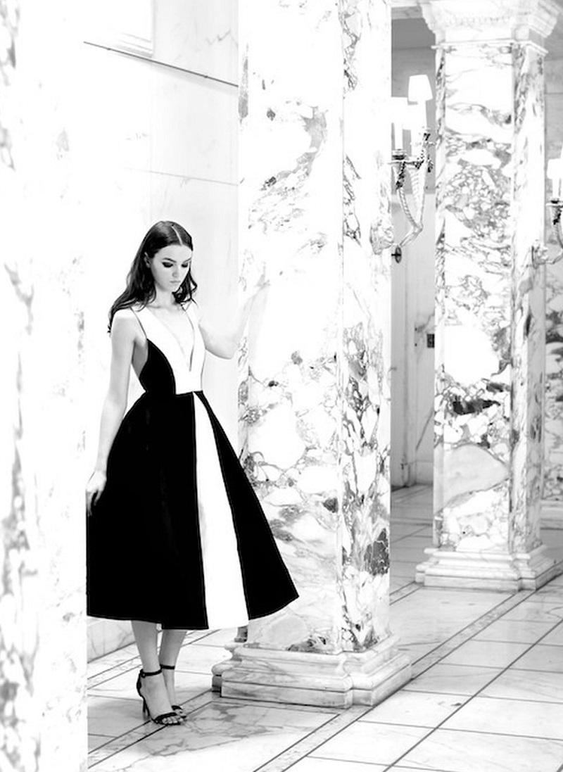 Alice + Olivia Brennan Deep-V Colorblock Dress 2