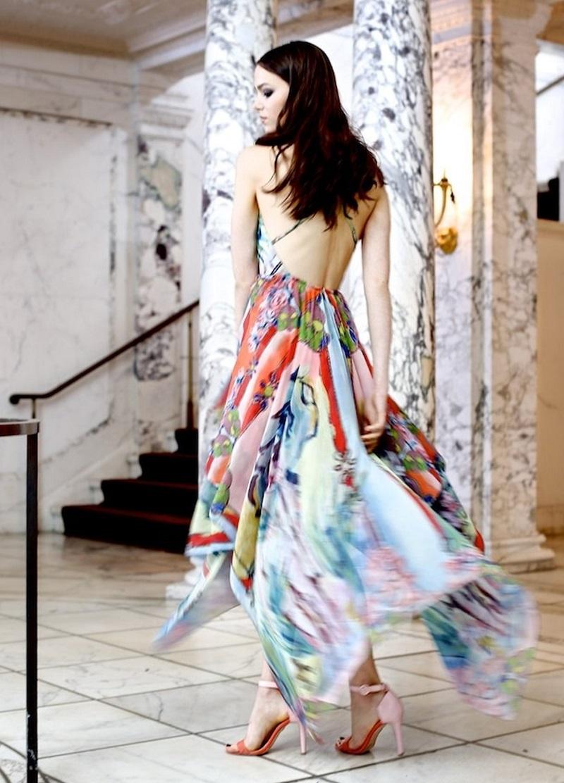 Alice + Olivia Orly Cross-Back Printed Chiffon Dress 1