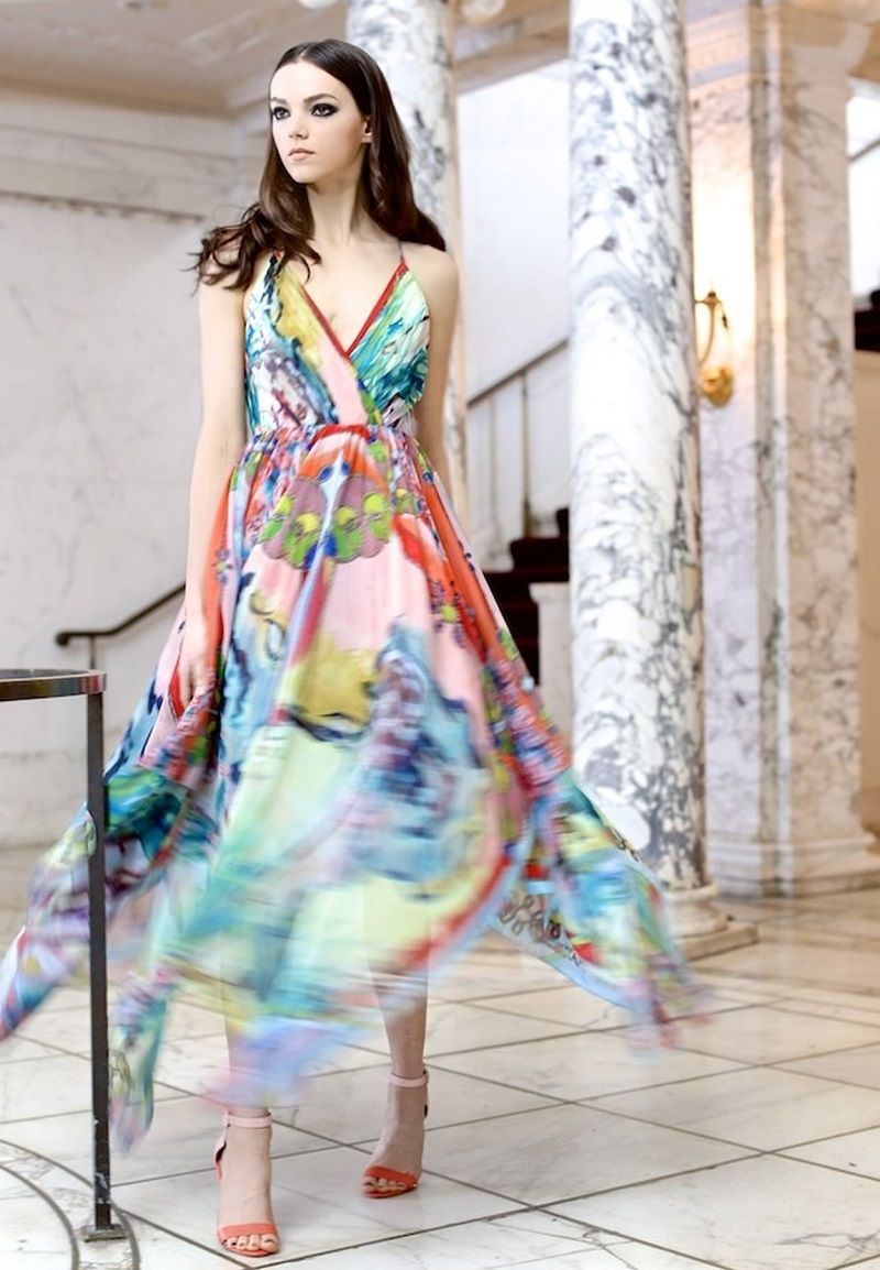 Alice + Olivia Orly Cross-Back Printed Chiffon Dress 2
