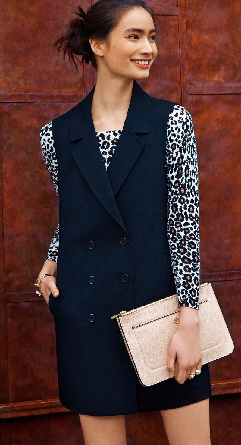 Ann Taylor Leopard Print Mesh Stitch Sweater