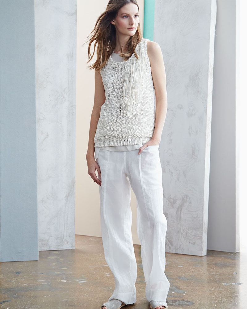 Brunello Cucinelli Loose-Knit Tank Top with Fringe