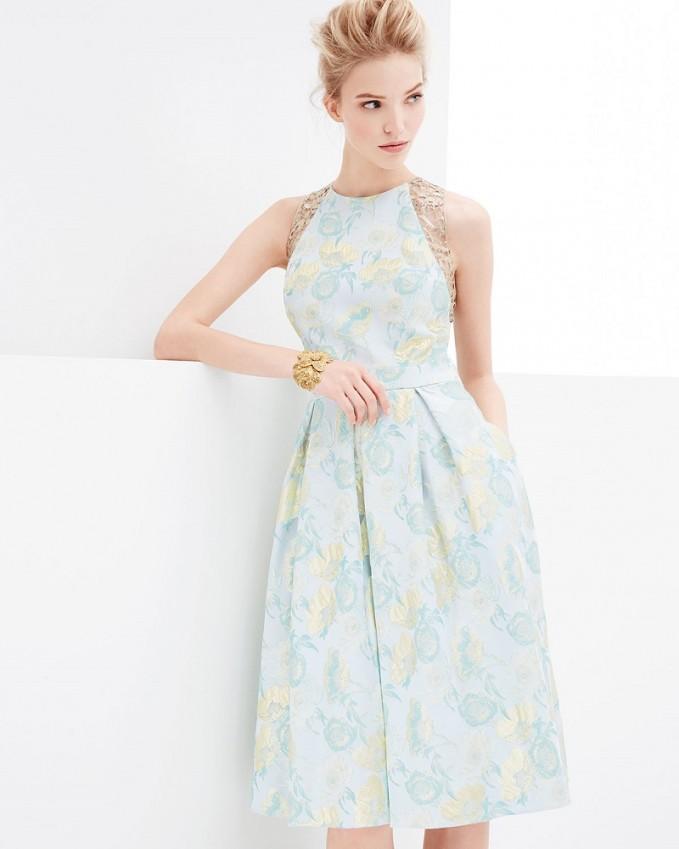 Carmen Marc Valvo Jacquard Full-Skirt Cocktail Dress