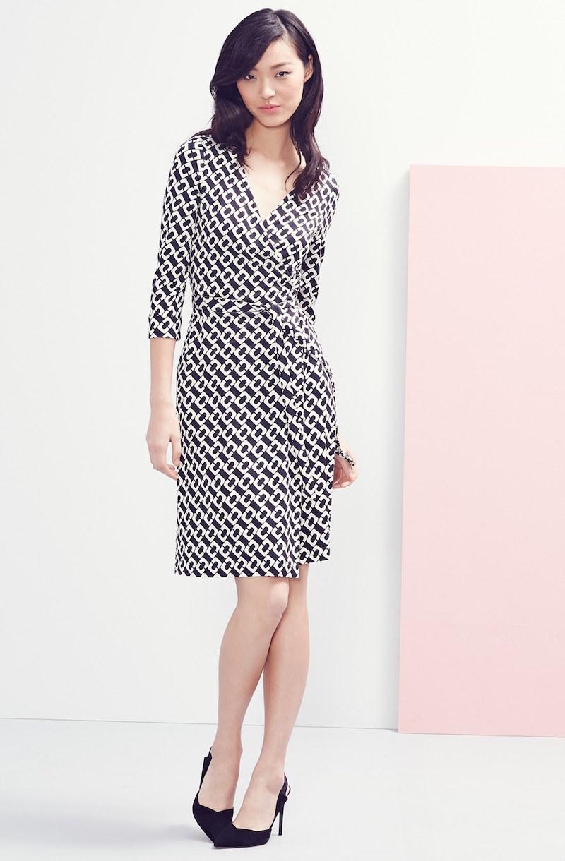 Diane von Furstenberg New Jeanne Two Print Silk Wrap Dress