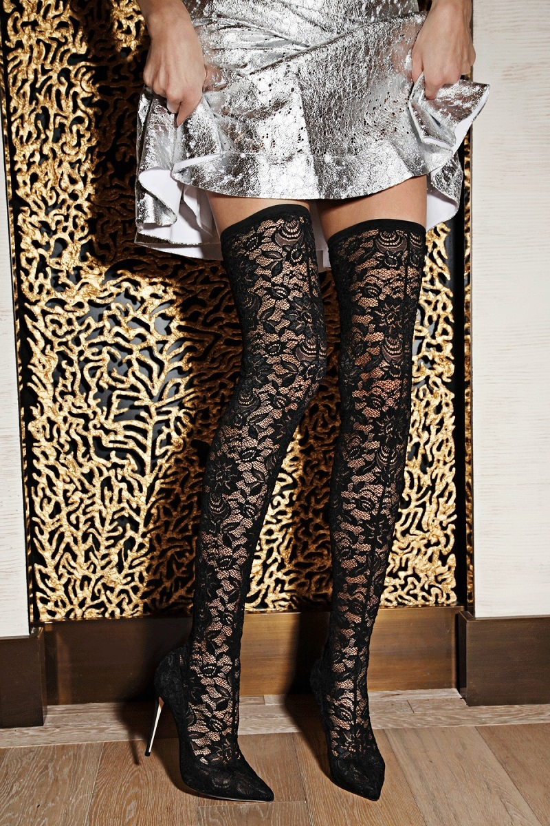 Dolce & Gabbana Lace Thigh-High Point-Toe Boots