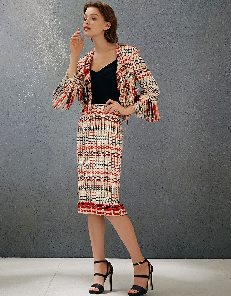 Donna Karan Fringe-Trim Woven Jacket