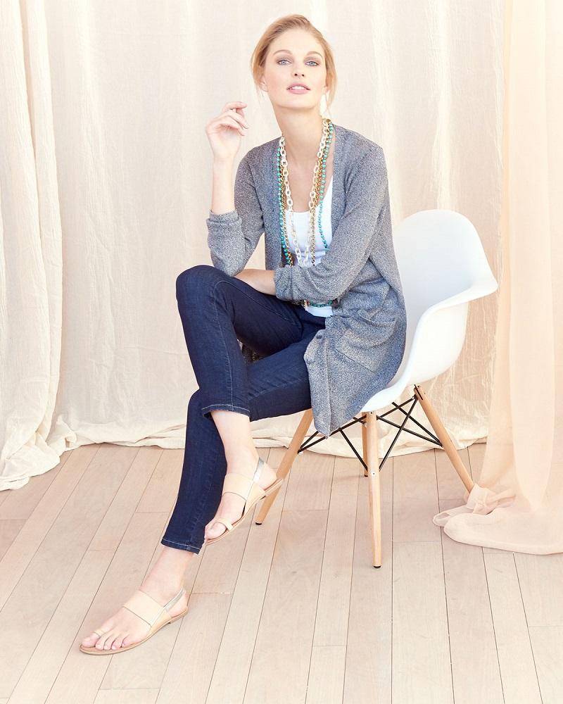 Eileen Fisher Long Linen-Blend Cardigan