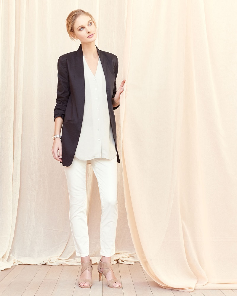 Eileen Fisher Long Polished Ramie Jacket