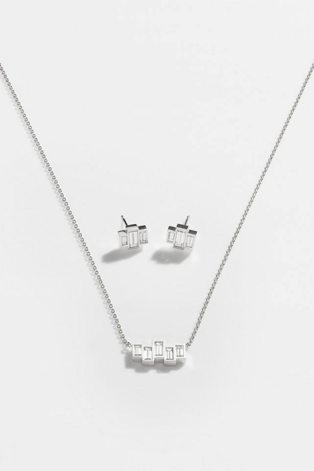 FINN Baguette Diamond & White Gold Geometric Pendant Necklace