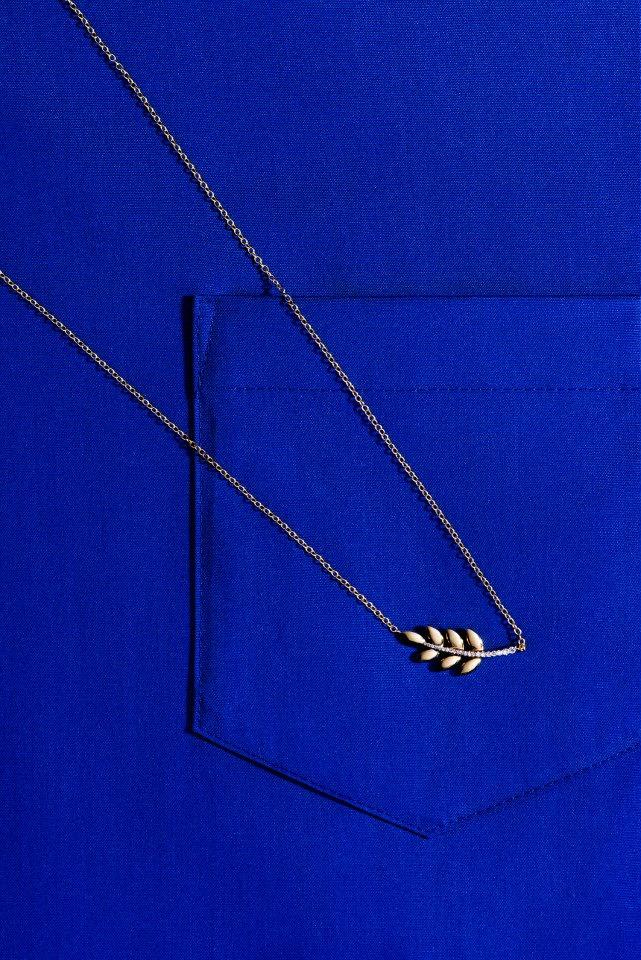 FINN Diamond & Gold Leaf Pendant Necklace