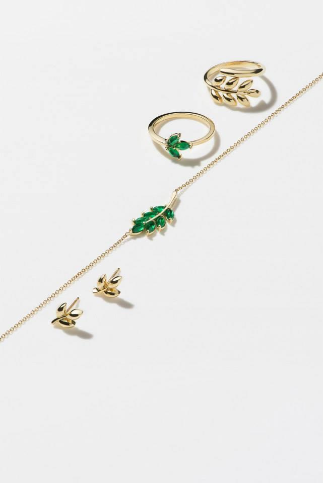 FINN Emerald & Gold Leaf Charm Necklace