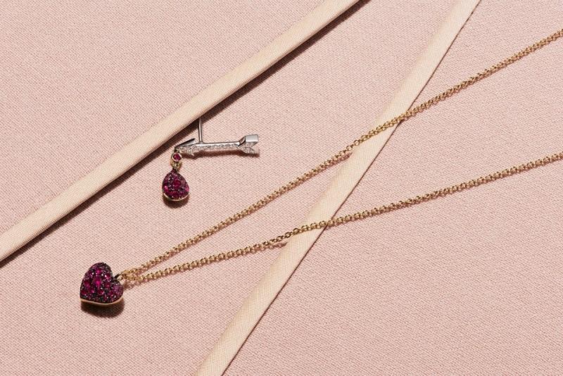 FINN Ruby & Gold Heart Pendant Necklace