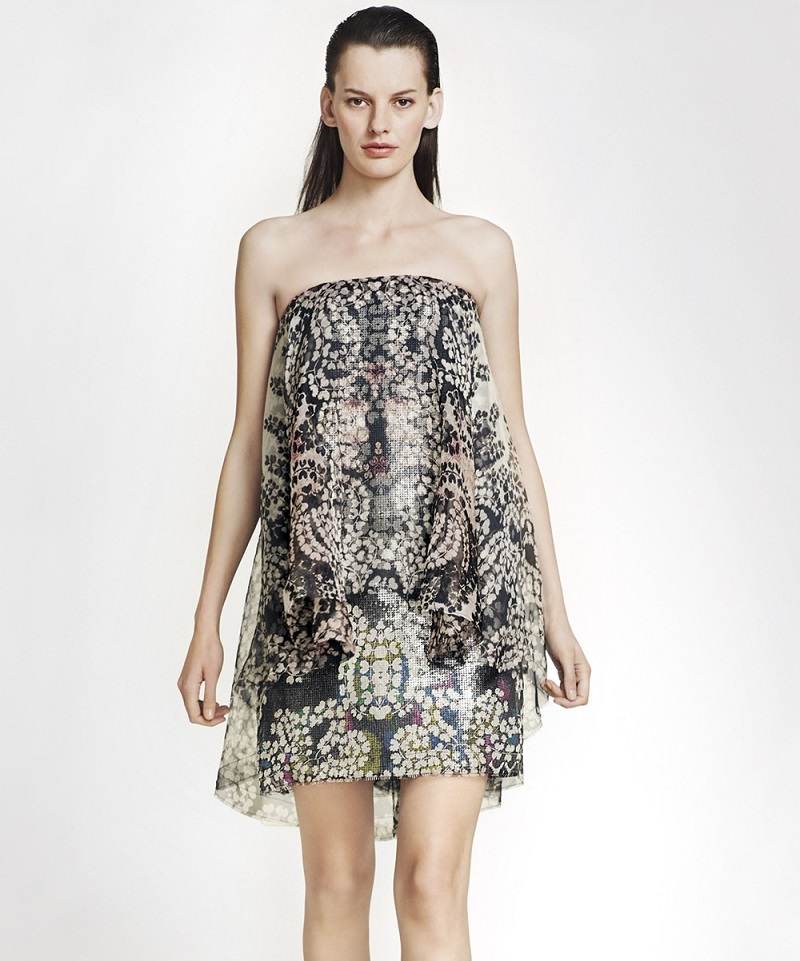 Lanvin Strapless Print Organza Dress