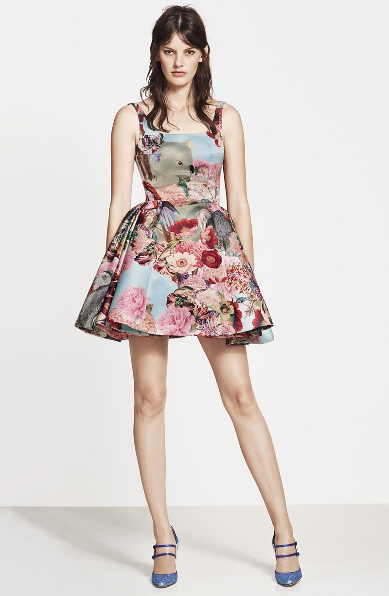 Mary Katrantzou Creature & Flower Print Satin Party Dress