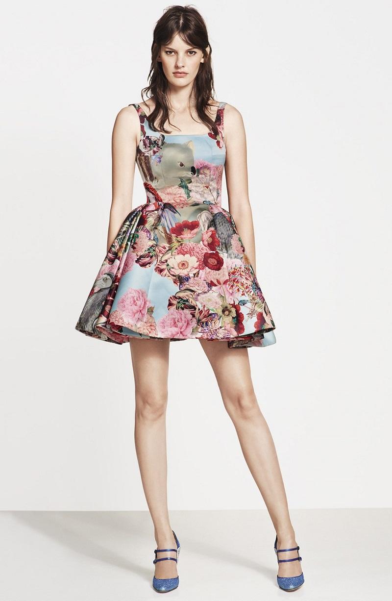 Mary Katrantzou Creature & Flower Print Satin Party Dress