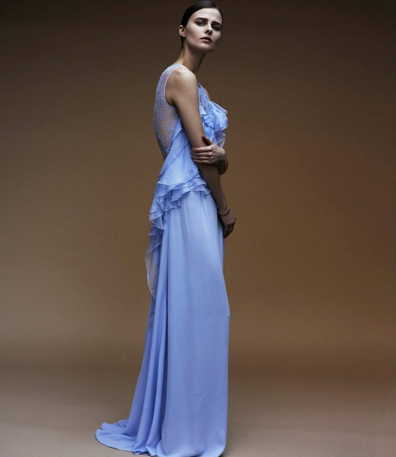 Nina Ricci Ruffle-Bodice Gown