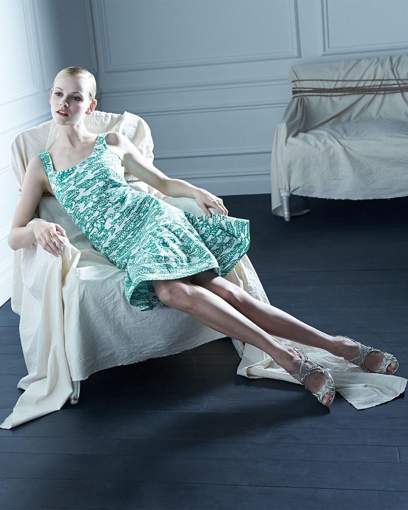 Oscar de la Renta Fish Block-Print Flounce Dress