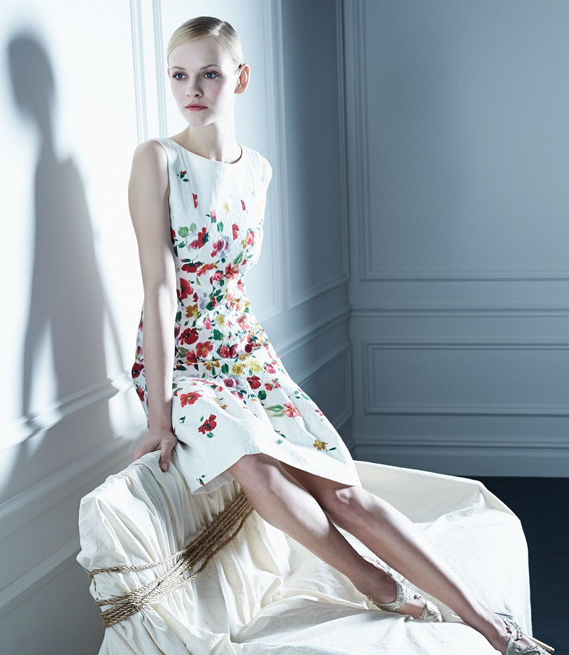 Oscar de la Renta Floral-Print Darted A-Line Dress
