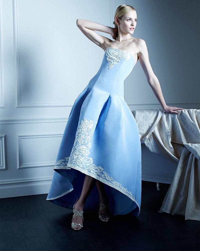 Oscar de la Renta Strapless Filigree-Embroidered High-Low Gown