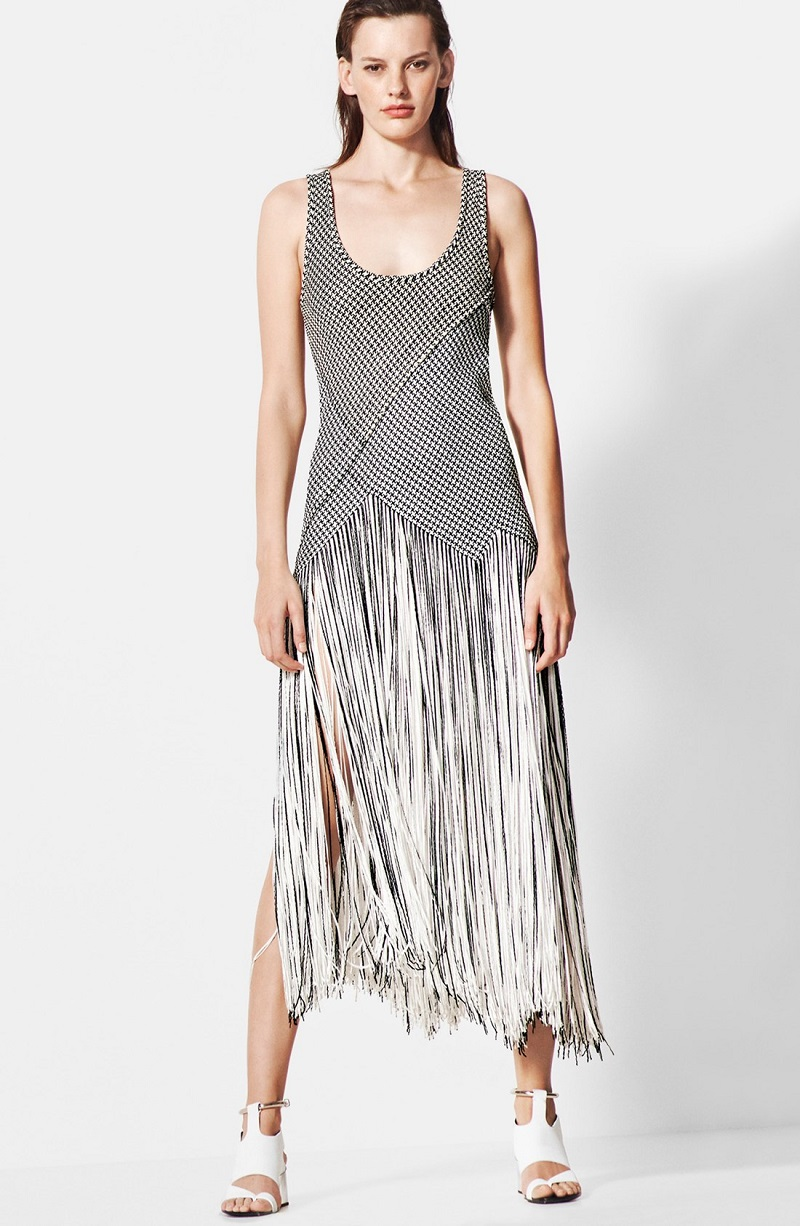 Proenza Schouler Basket Weave Fringe Skirt Dress