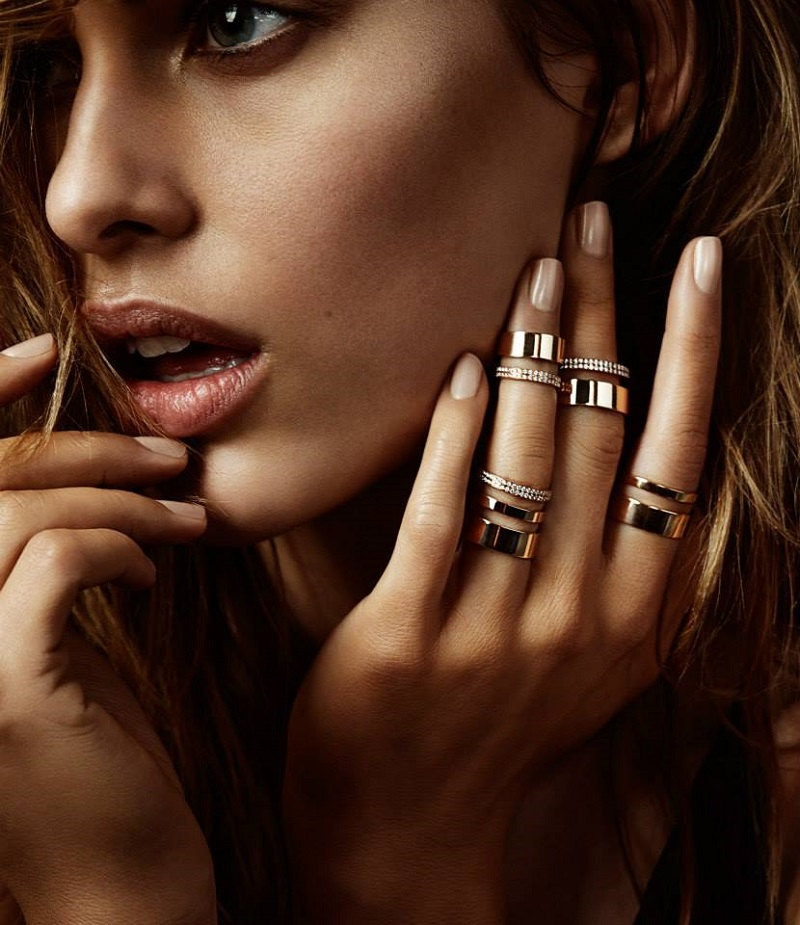 REPOSSI Diamond & Pink Gold Berbère Module Triple-Band Ring