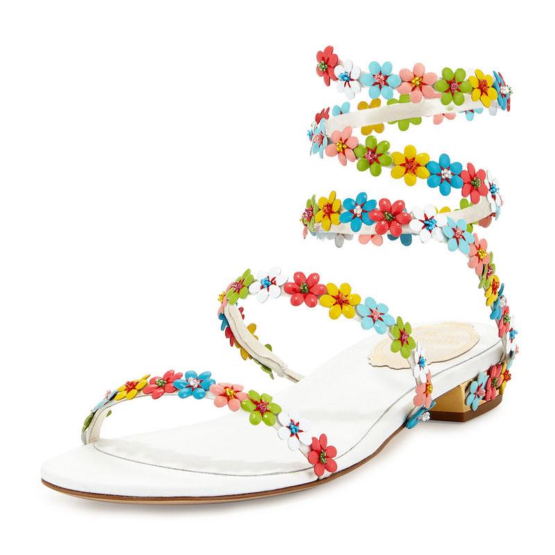 René Caovilla Floral-Embellished Coil Sandal
