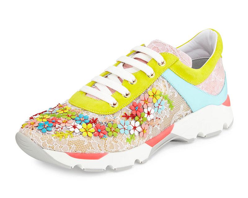 René Caovilla Floral-Embellished Lace Sneaker