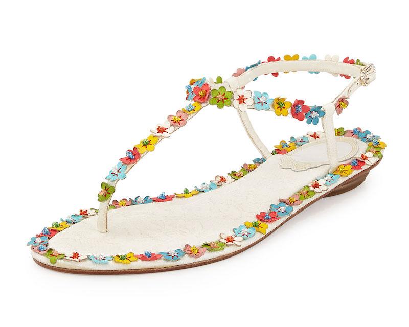 René Caovilla Lace & Floral Thong Sandal
