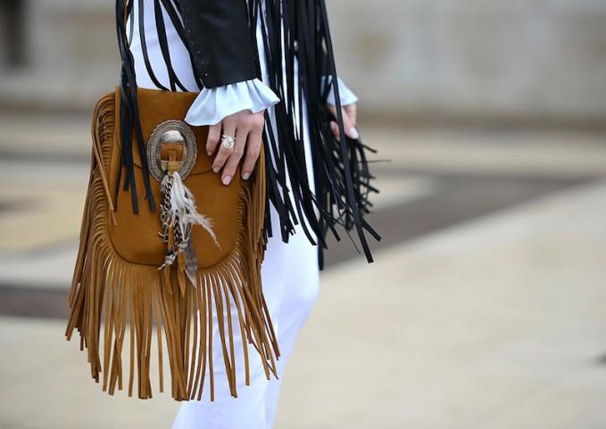 Saint Laurent Anita Small Suede Fringe Flat Bag
