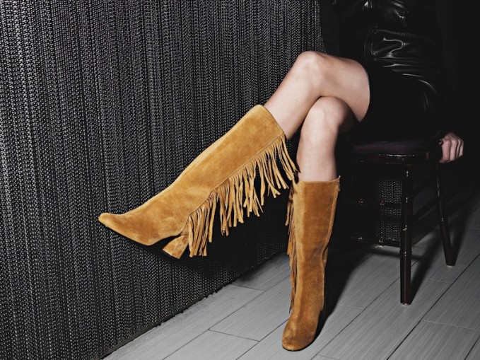 Saint Laurent Fringe-Trimmed Suede Knee-High Boots – NAWO