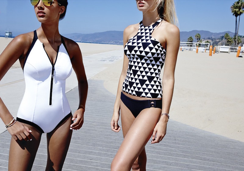 Seafolly 'Block Party' Front Zip One-Piece Swimsuit