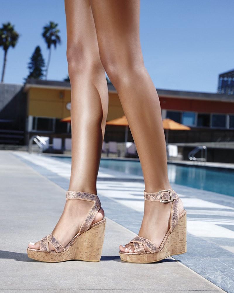 Stuart Weitzman Annex Crackle Metallic Wedge Sandals