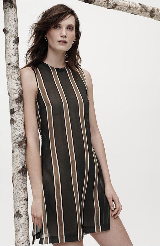Theory Latter Stripe Pinga Silk Top