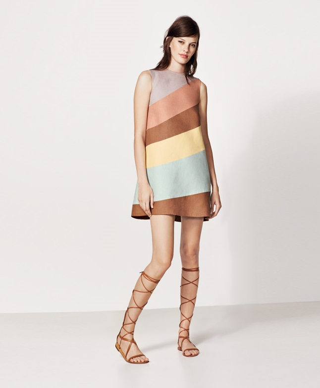 Valentino Diagonal Stripe Linen Shift Dress