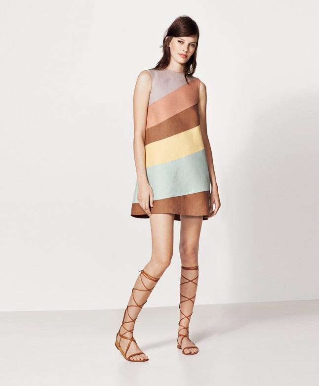Valentino Diagonal Stripe Linen Shift Dress