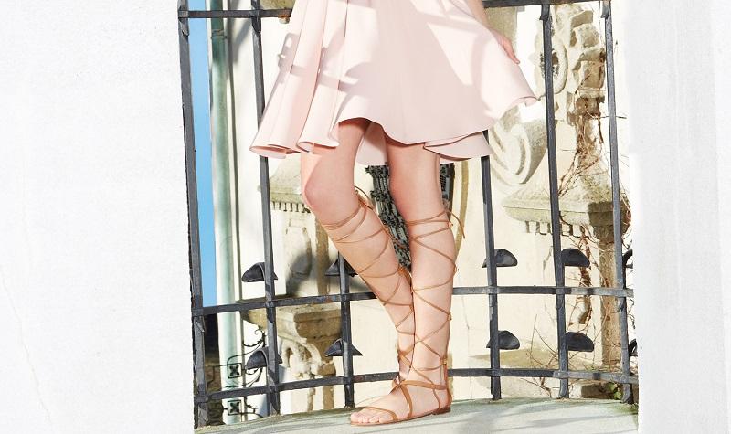 Valentino Rock Stud Leather Knee-High Gladiator Sandals