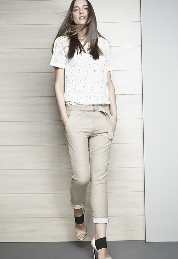 Vince Tiled Lace Short-Sleeve Tee